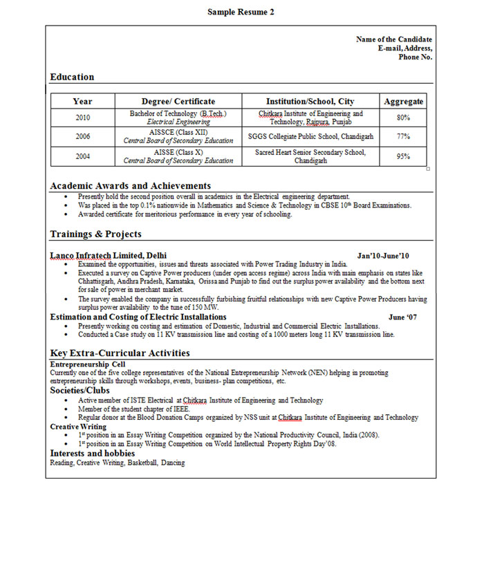 sle resume format for freshers
