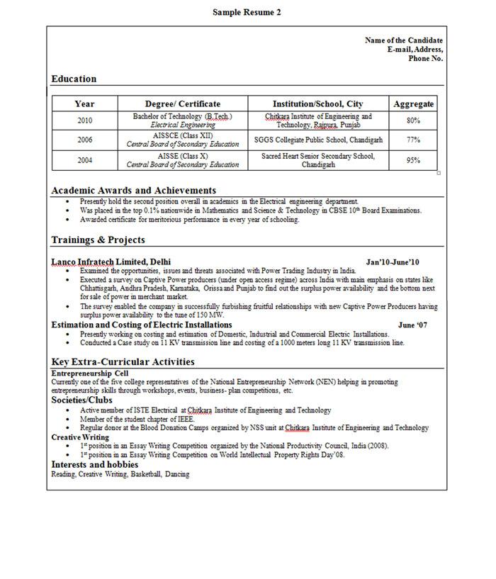 infosys resume format