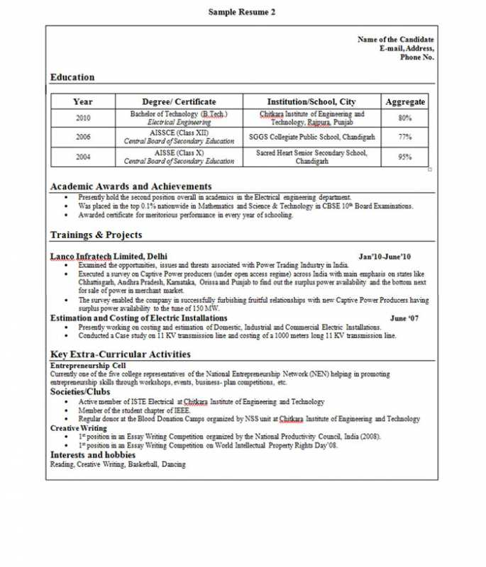 Sample Resume Format For Freshers